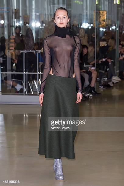 A model walks the runway during the Lea Peckre show as part of the Paris Fashion Week Womenswear Fall/Winter 2015/2016 on March 3 2015 in Paris France