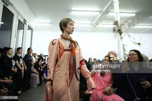A model walks the runway during the Lela Jacobs show during New Zealand Fashion Week 2018 at the Starkwhite Gallery on August 28 2018 in Auckland New...
