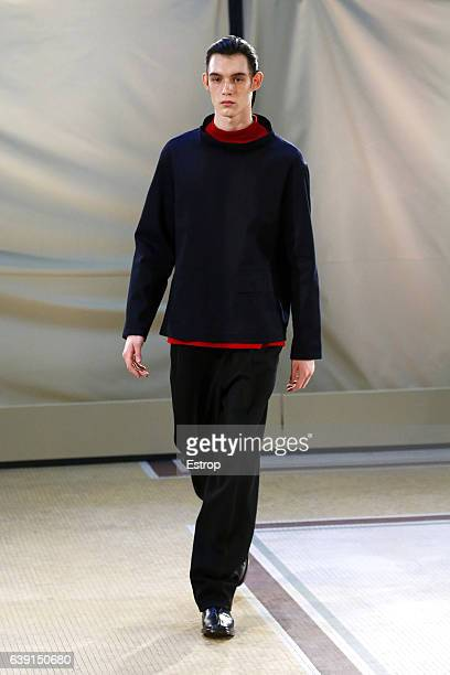 Model walks the runway during the Lemaire Menswear Fall/Winter 2017-2018 show as part of Paris Fashion Week on January 18, 2017 in Paris, France.