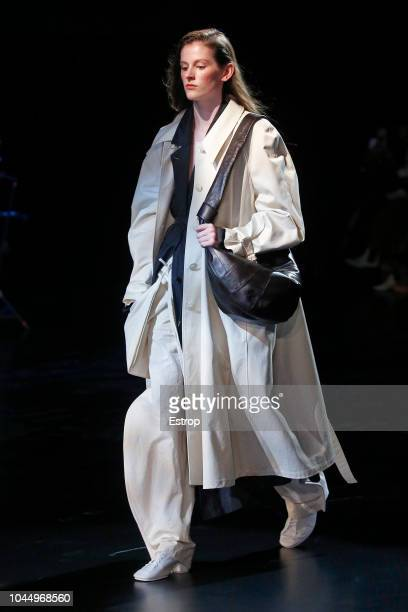 Model walks the runway during the Lemaire show as part of the Paris Fashion Week Womenswear Spring/Summer 2019 on September 26, 2018 in Paris, France.
