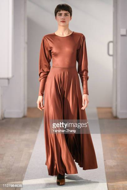A model walks the runway during the Lemaire show as part of the Paris Fashion Week Womenswear Fall/Winter 2019/2020 on February 27 2019 in Paris...