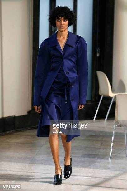 A model walks the runway during the Lemaire show as part of the Paris Fashion Week Womenswear Spring/Summer 2018 on September 27 2017 in Paris France