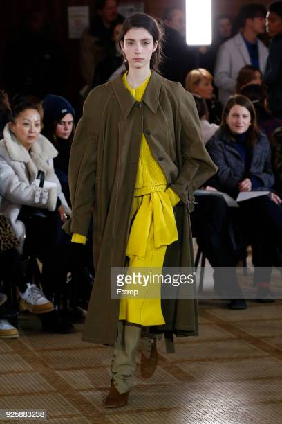 A model walks the runway during the Lemaire show as part of the Paris Fashion Week Womenswear Fall/Winter 2018/2019 on February 28 2018 in Paris...