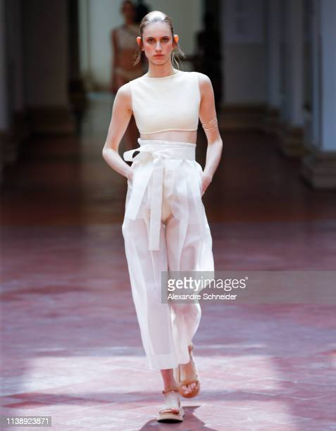 A model walks the runway during the Lenny Niemeyer fashion show during Sao Paulo Fashion Week N47 Summer 2020 at Pinacoteca on April 23 2019 in Sao...