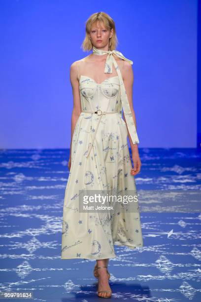 A model walks the runway during the Leo Lin show at MercedesBenz Fashion Week Resort 19 Collections at Carriageworks on May 17 2018 in Sydney...