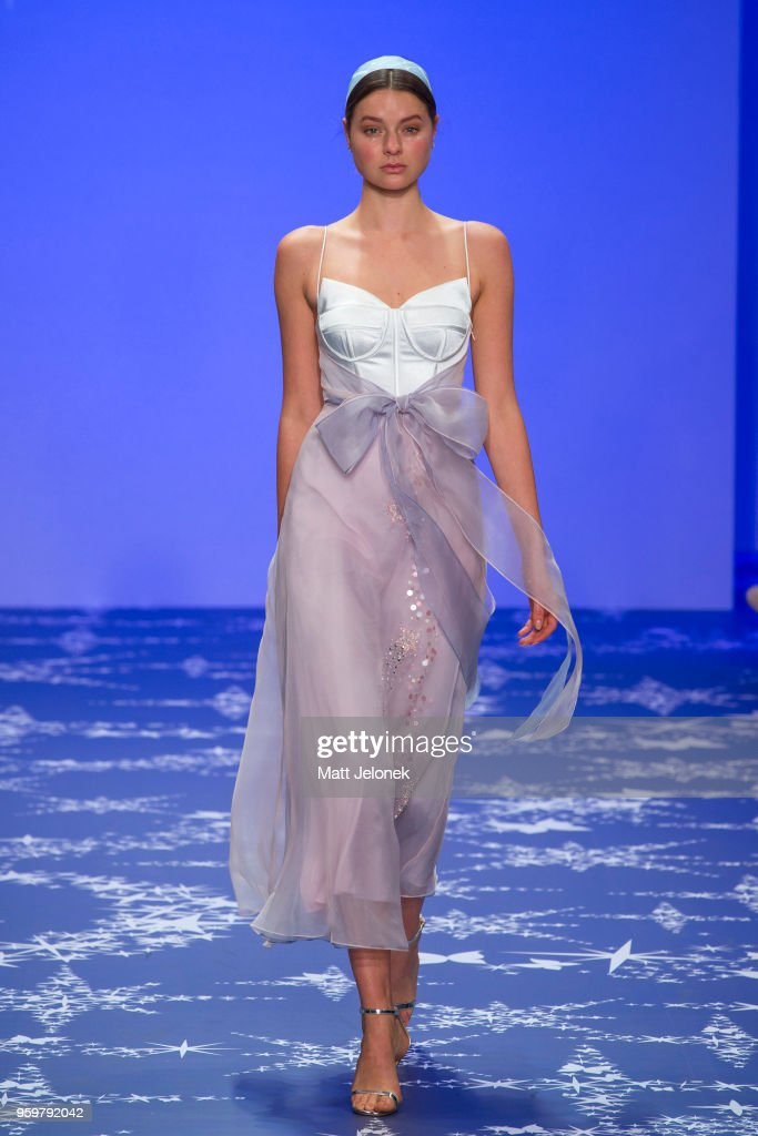 A model walks the runway during the Leo & Lin show at Mercedes-Benz Fashion Week Resort 19 Collections at Carriageworks on May 17, 2018 in Sydney, Australia.