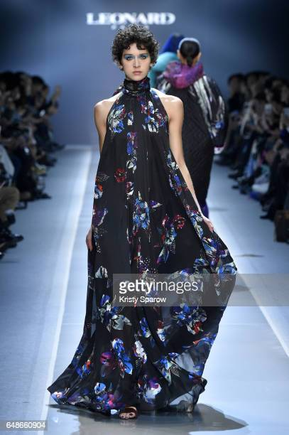 A model walks the runway during the Leonard Paris show as part of Paris Fashion Week Womenswear Fall/Winter 2017/2018 on March 6 2017 in Paris France