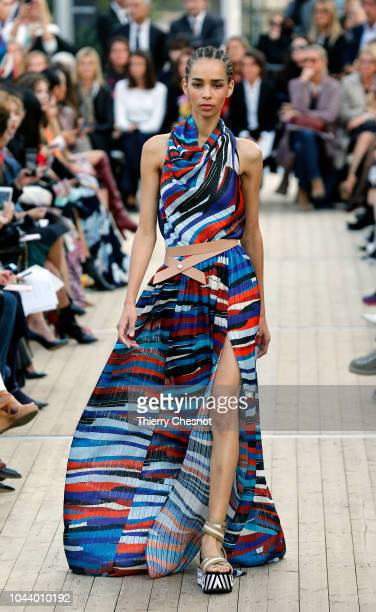 Model walks the runway during the Leonard Paris show as part of the Paris Fashion Week Womenswear Spring/Summer 2019 on October 1, 2018 in Paris,...