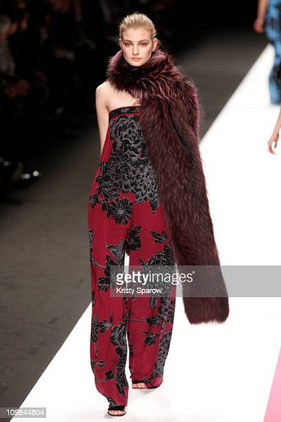 Model walks the runway during the Leonard Ready to Wear Autumn/Winter 2011/2012 show during Paris Fashion Week Pavillon Concorde on March 7, 2011 in...