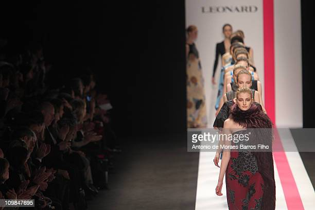 A model walks the runway during the Leonard Ready to Wear Autumn/Winter 2011/2012 show during Paris Fashion Week Pavillon Concorde on March 7 2011 in...