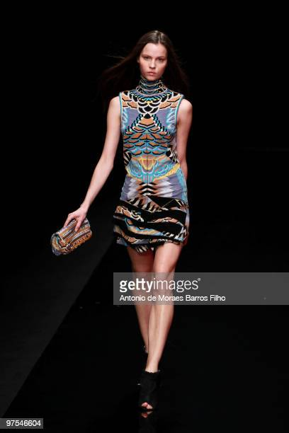 Model walks the runway during the Leonard Ready to Wear show as part of the Paris Womenswear Fashion Week Fall/Winter 2011 at Le Carrousel du Louvre...