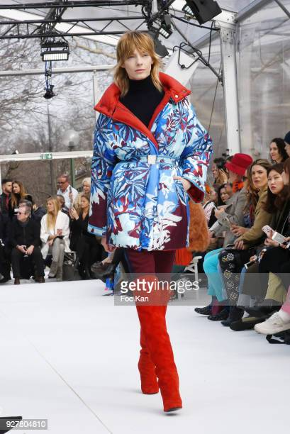 A model walks the runway during the Leonard show as part of the Paris Fashion Week Womenswear Fall/Winter 2018/2019 on March 52018 in Paris France