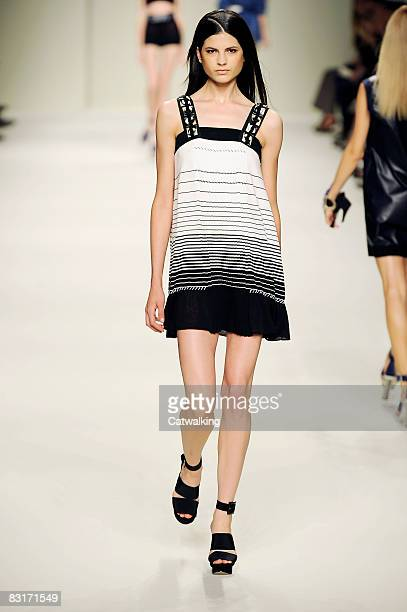 A model walks the runway during the Les Copains show part of Milan Fashion Week Spring/Summer 2009 on September 252008 in MilanItaly
