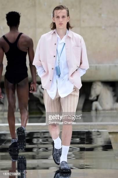 Model walks the runway during the LGN Louis-Gabriel Nouchi Menswear Spring Summer 2022 show as part of Paris Fashion Week on June 24, 2021 in Paris,...