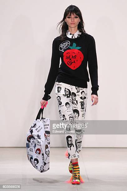 A model walks the runway during the Libertine fashion show at The Gallery Skylight at Clarkson Sq on September 12 2016 in New York City