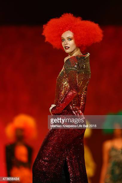 A model walks the runway during the Life Ball 2015 show at City Hall on May 16 2015 in Vienna Austria
