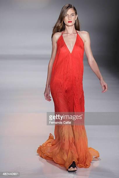 A model walks the runway during the Lino Villaventura show at Sao Paulo Fashion Week Summer 2014/2015 at Parque Candido Portinari on April 3 2014 in...