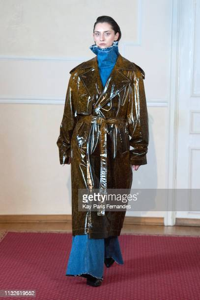 A model walks the runway during the Litkovskaya show as part of the Paris Fashion Week Womenswear Fall/Winter 2019/2020 on February 27 2019 in Paris...