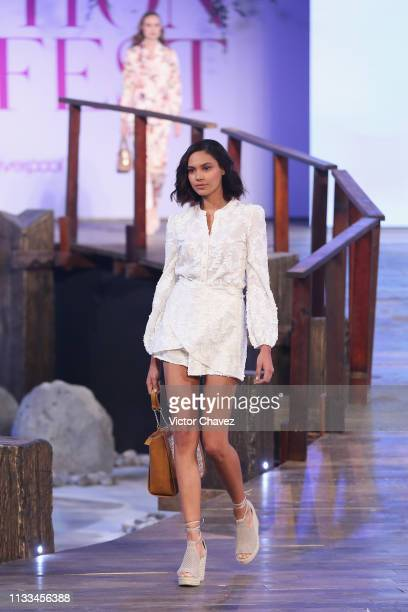 Model walks the runway during the Liverpool Fashion Fest Spring/ Summer 2019 at Quarry Studios on March 28, 2019 in Mexico City, Mexico.