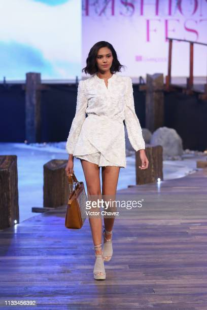 A model walks the runway during the Liverpool Fashion Fest Spring/ Summer 2019 at Quarry Studios on March 28 2019 in Mexico City Mexico