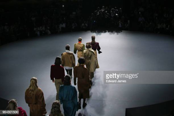 A model walks the runway during the Liya fashion show at MercedesBenz Fashion Week Tbilisi on May 3 2018 in Tbilisi Georgia
