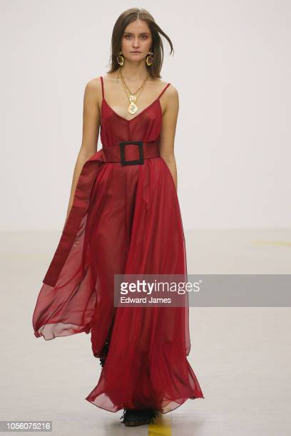 A model walks the runway during the Liya Spring/Summer 2019 Collection fashion show at MercedesBenz Fashion Week Tbilisi on November 1 2018 in...