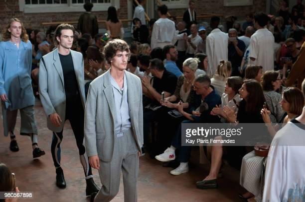 A model walks the runway during the LLouis Gabriel Nouchi Menswear Spring/Summer 2019 show as part of Paris Fashion Week on June 20 2018 in Paris...
