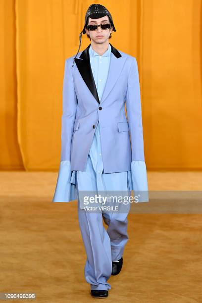 Model walks the runway during the Loewe Menswear Fall/Winter 2019-2020 show as part of Paris Fashion Week on January 19, 2019 in Paris, France.