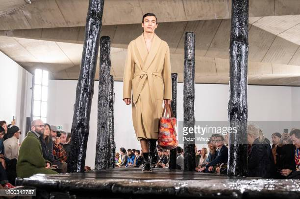 Model walks the runway during the Loewe Menswear Fall/Winter 2020-2021 show as part of Paris Fashion Week on January 18, 2020 in Paris, France.