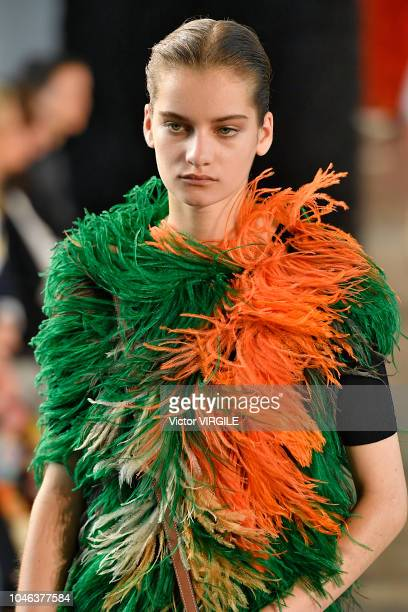 Model walks the runway during the Loewe Ready to Wear fashion show as part of the Paris Fashion Week Womenswear Spring/Summer 2019 on September 28,...