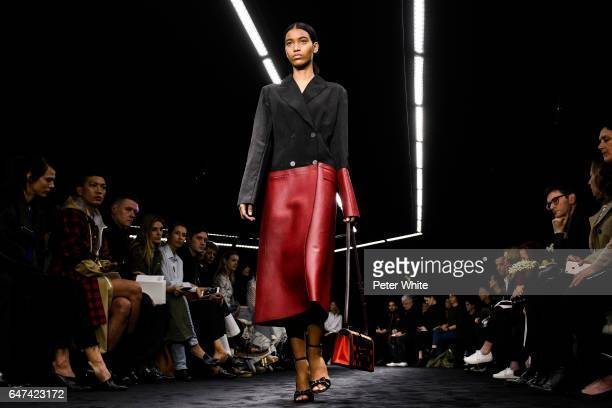 A model walks the runway during the Loewe show as part of the Paris Fashion Week Womenswear Fall/Winter 2017/2018 on March 3 2017 in Paris France