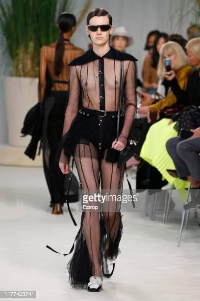 Model walks the runway during the Loewe Womenswear Spring/Summer 2020 show as part of Paris Fashion Week on September 27, 2019 in Paris, France.