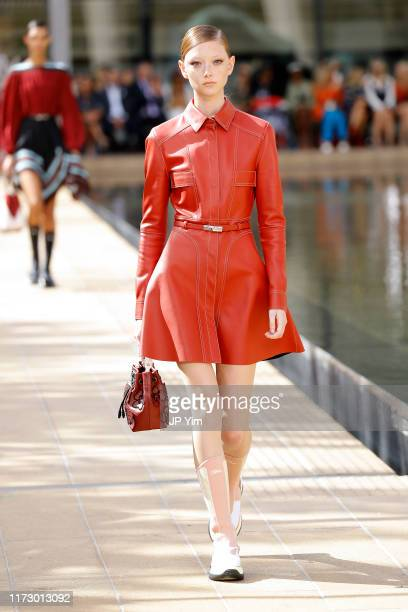 Model walks the runway during the Longchamp SS20 Runway Show on September 07, 2019 in New York City.