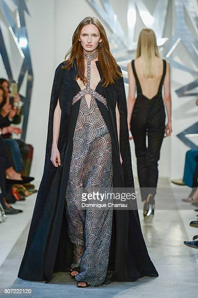 Model walks the runway during the Loris Azzaro Spring Summer 2016 show as part of Paris Fashion Week on January 28, 2016 in Paris, France.
