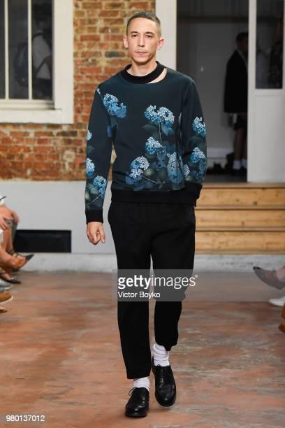 A model walks the runway during the Louis Gabriel Nouchi Menswear Spring/Summer 2019 show as part of Paris Fashion Week on June 20 2018 in Paris...