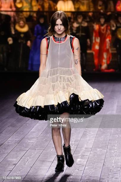 Model walks the runway during the Louis Vuitton as part of the Paris Fashion Week Womenswear Fall/Winter 2020/2021 on March 03, 2020 in Paris, France.