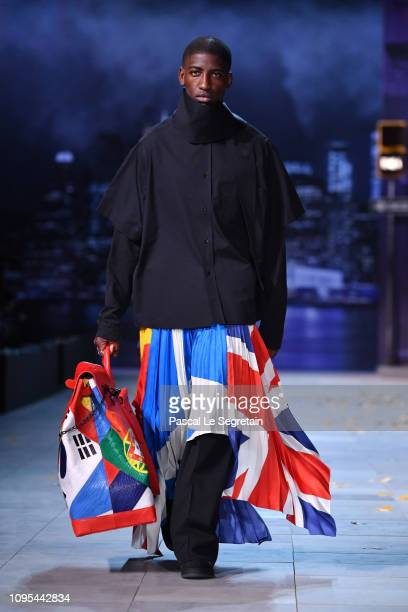 A model walks the runway during the Louis Vuitton Menswear Fall/Winter 20192020 show as part of Paris Fashion Week on January 17 2019 in Paris France