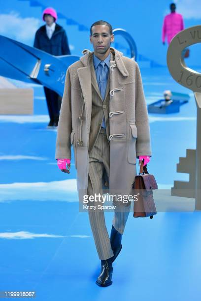 Model walks the runway during the Louis Vuitton Menswear Fall/Winter 2020-2021 show as part of Paris Fashion Week on January 16, 2020 in Paris,...
