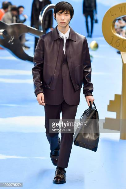 A model walks the runway during the Louis Vuitton Menswear Fall/Winter 20202021 show as part of Paris Fashion Week on January 16 2020 in Paris France