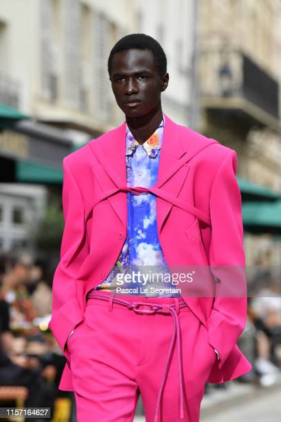 A model walks the runway during the Louis Vuitton Menswear Spring Summer 2020 show as part of Paris Fashion Week on June 20 2019 in Paris France