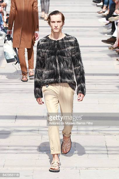Model walks the runway during the Louis Vuitton Menswear Spring/Summer 2017 show as part of Paris Fashion Week on June 23, 2016 in Paris, France.