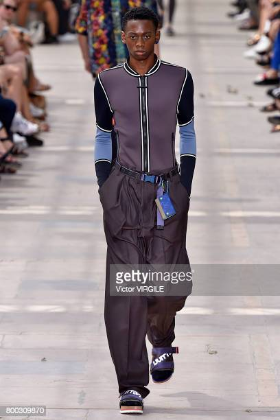 A model walks the runway during the Louis Vuitton Menswear Spring/Summer 2018 show as part of Paris Fashion Week on June 22 2017 in Paris France