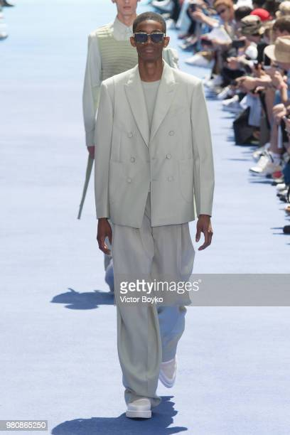 A model walks the runway during the Louis Vuitton Menswear Spring/Summer 2019 show as part of Paris Fashion Week on June 21 2018 in Paris France