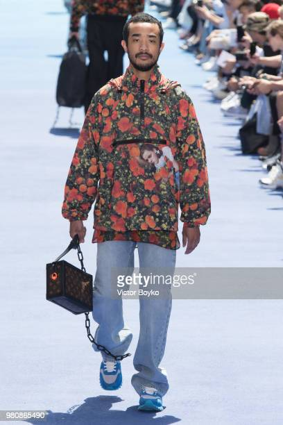 Model walks the runway during the Louis Vuitton Menswear Spring/Summer 2019 show as part of Paris Fashion Week on June 21, 2018 in Paris, France.