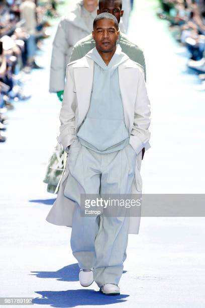 US fashion designer for Louis Vuitton Virgil Abloh acknowledges the audience at the end of the men's spring/summer 2019 collection fashion show by...