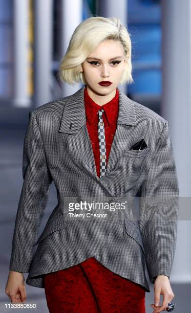 A model walks the runway during the Louis Vuitton show as part of the Paris Fashion Week Womenswear Fall/Winter 2019/2020 on March 05 2019 in Paris...