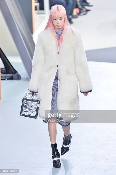 A model walks the runway during the Louis Vuitton show as part of the Paris Fashion Week Womenswear Fall/Winter 2015/2016 on March 11 2015 in Paris...