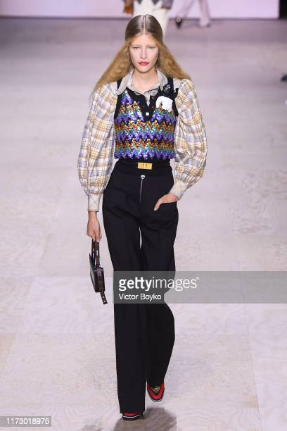 A model walks the runway during the Louis Vuitton Womenswear Spring/Summer 2020 show as part of Paris Fashion Week on October 1 2019 in Paris France