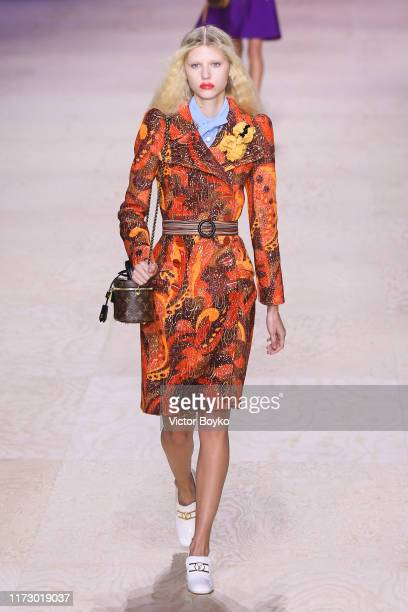 Model walks the runway during the Louis Vuitton Womenswear Spring/Summer 2020 show as part of Paris Fashion Week on October 1, 2019 in Paris, France.