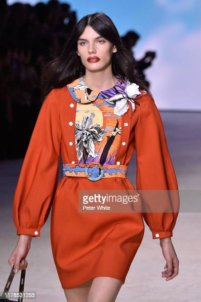 Model walks the runway during the Louis Vuitton Womenswear Spring/Summer 2020 show as part of Paris Fashion Week on October 01, 2019 in Paris, France.